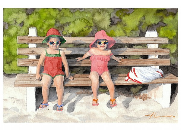 beach twins watercolor painting theuer