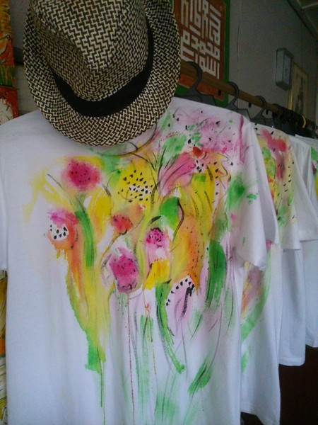 hand painted t shirt, flowers series 4