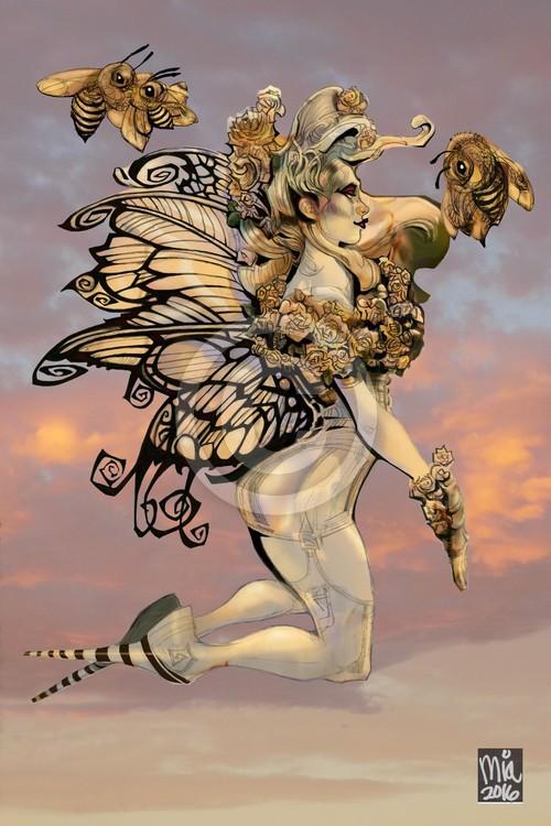 White Rose Honey Bee