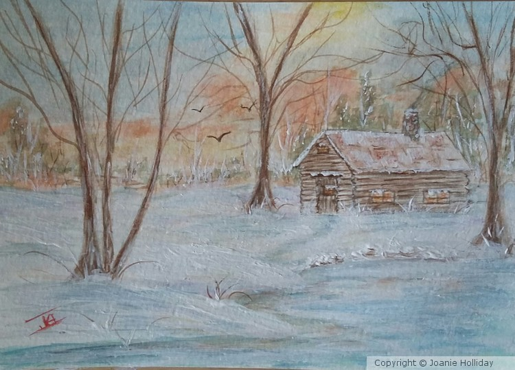 WINTER CABIN. 5X7 WATERCOLOR