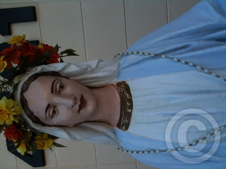 Mary statue repainted