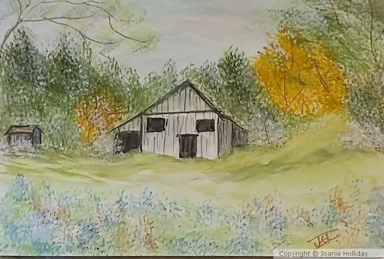 THE COUNTRY BARN.  WATERCOLOR