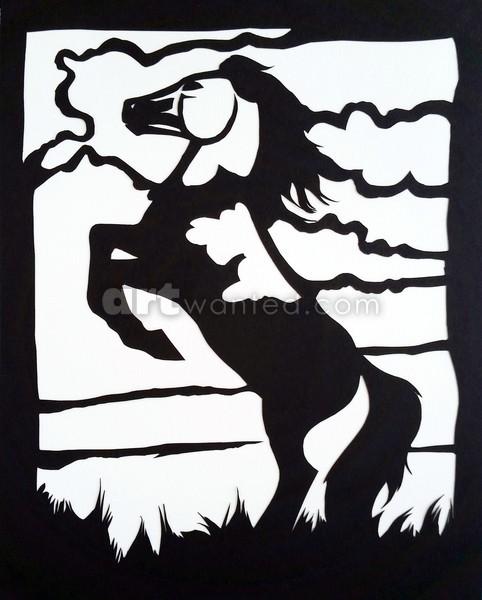 Wild Rearing Mustang Papercut
