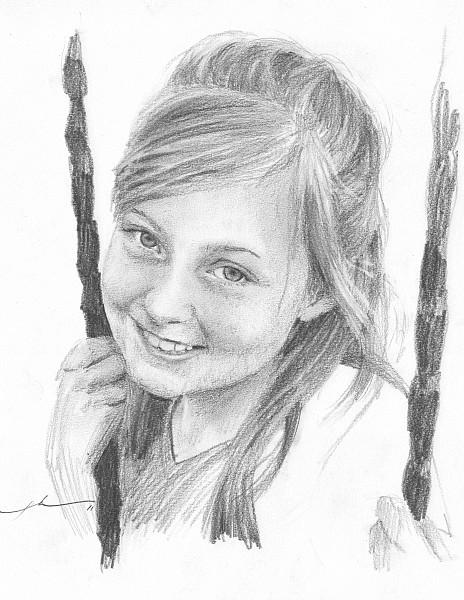 girl on swing pencil portrait