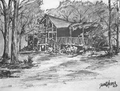 Log Cabin pen and ink drawing