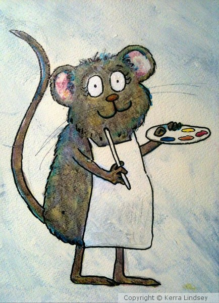 Whimsical Rainbow Artist Art Rat Mouse