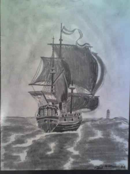 Sailboat offshore Terschelling