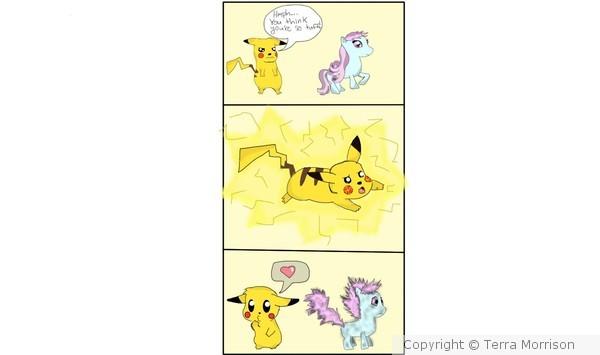 Pikachu VS my little pony comic