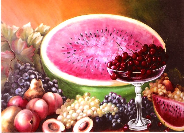 Watermelon and Fruits Still Life
