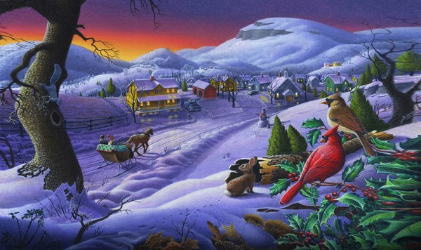 Winter Cardinals Rural Landscape - Phone Case Art