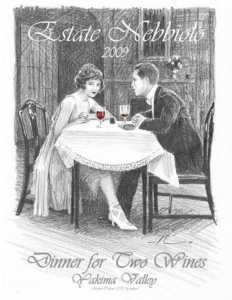 wine label drawing