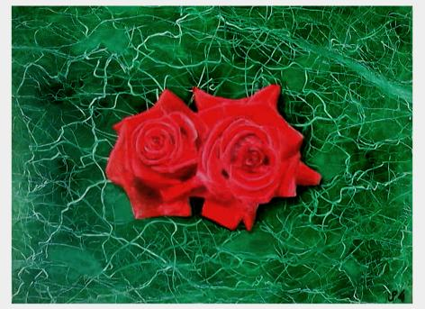 RED ROSES ON GREEN MARBLE