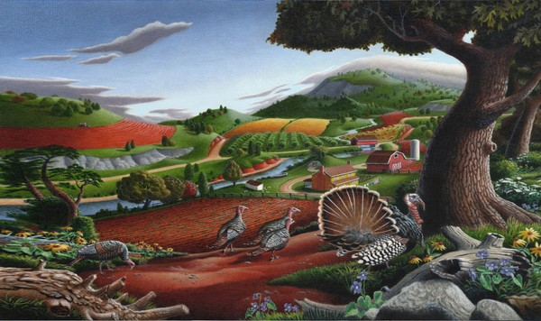 Wild Turkeys Country Landscape - Phone Case Art