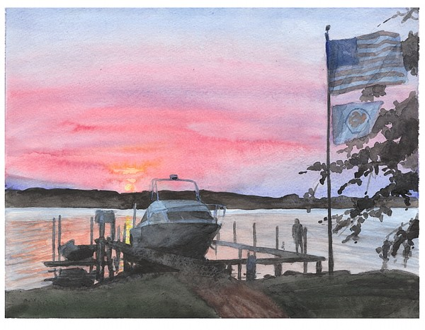 boat susnset watercolor mike theuer