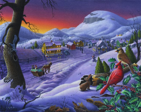 Sleigh Ride Timeless Small Town Winter Landscape F