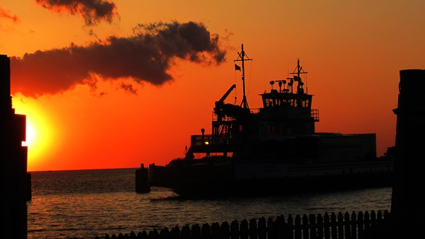Ferry at Sunset on the Outer Banks