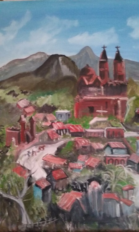 Mexican Village  beautiful colors original oil by