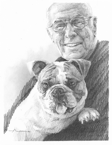 dad and dog drawing mike theuer