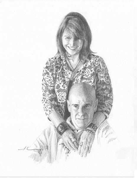 artist couple pencil portrait