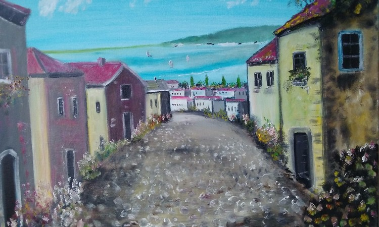 Tuscany Village scene original hand painted by T P