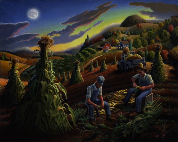Shucking Corn Farm Folk Art Fall Country Landscape