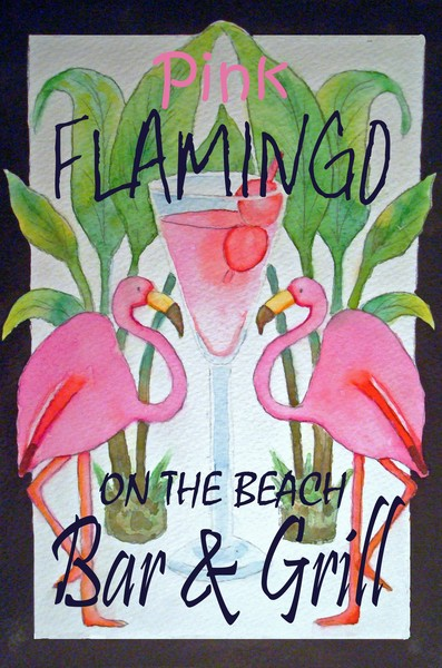 Pink Whimsical Flamingo Poster