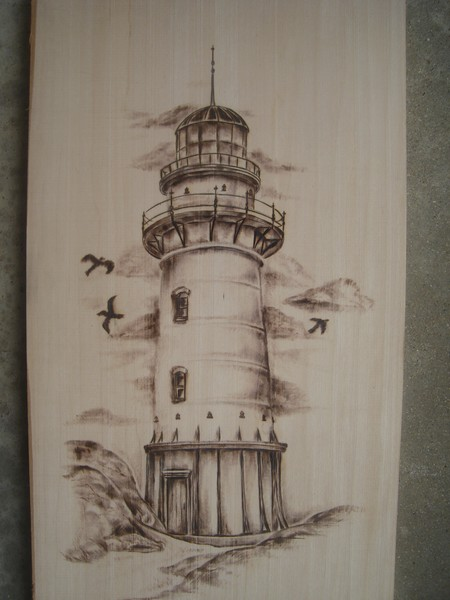 lighthouse woodburning/pyrography