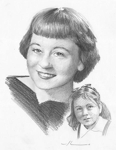 woman child pencil portrait