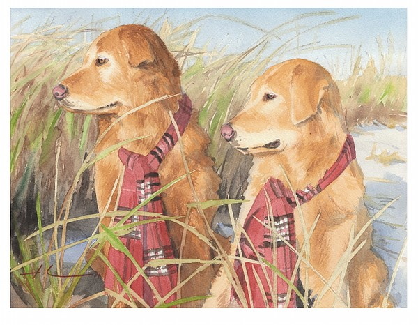 retrievers beach watercolor theuer