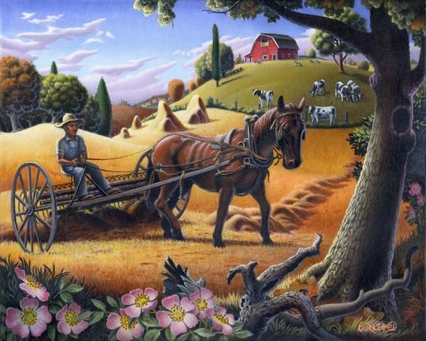 Raking Hay Field Americana Landscape Folk Art