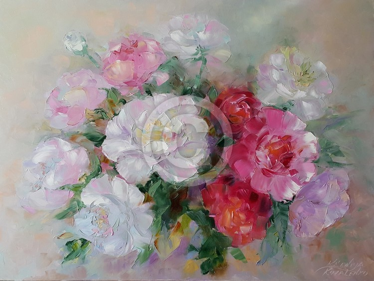 painting *Gentle peonies*oil on canvas 80x60 cm