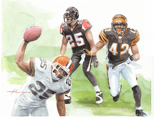 football watercolor mike theuer