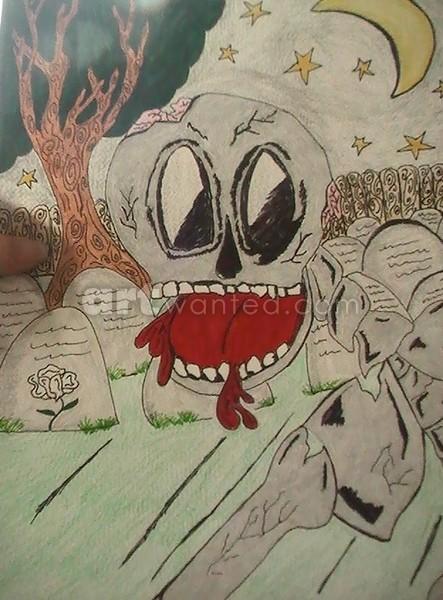 skeleton in grave yard