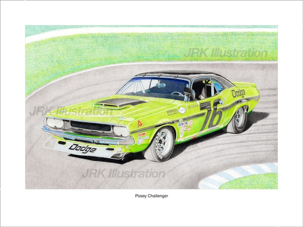 Posey Challenger transam car Limited Edition print