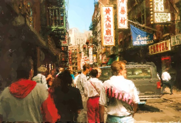 China Town in New York City Painting