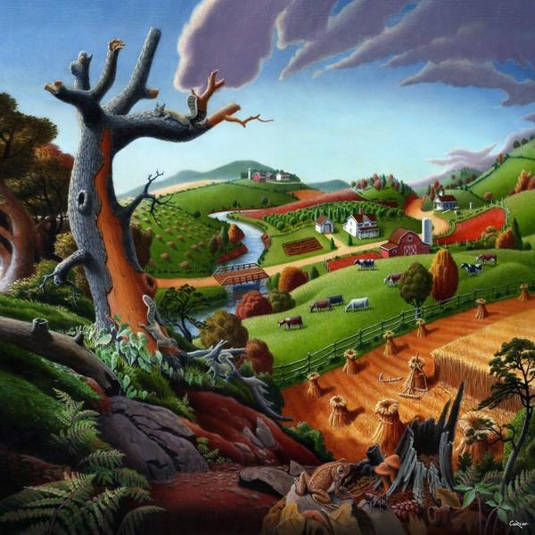 Square Art - Autumn Wheat Harvest Farm Landscape
