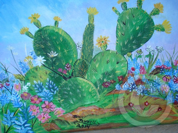 bluebonnets and cactus