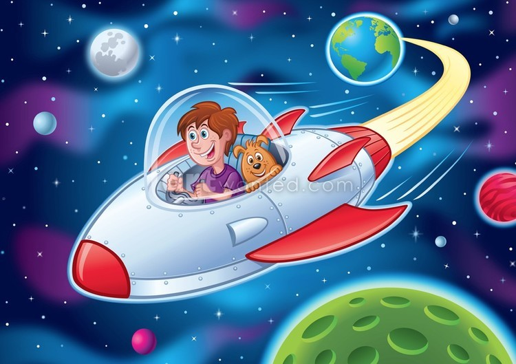Kid and Dog in Spacecraft