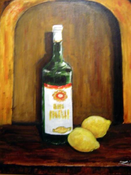 Bottle with Lemons