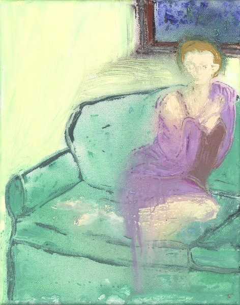 Girl on Green Sofa