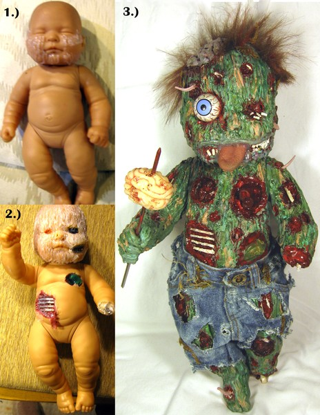 ooak zombaby art doll