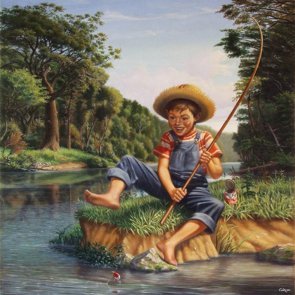 Square Art -  Boy Fishing In River