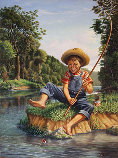 Young Boy Fishing In River Landscape Oil Painting