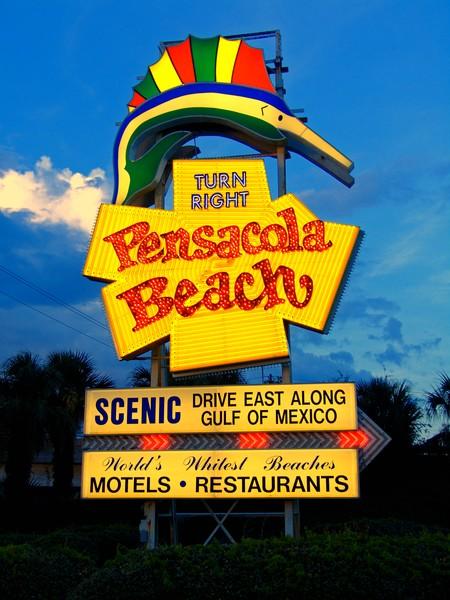Pensacola Beach Sign at Dusk