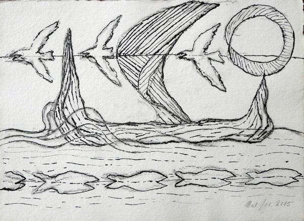 BIRDS BOAT FISH