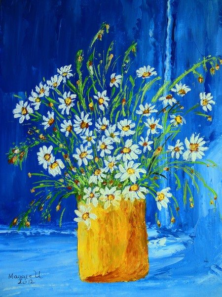Flowers by the Blue wall/Palette knife