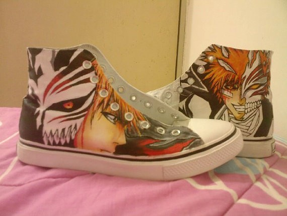 Bleach Hand Painted Ichigo Custom Sneakers High-to