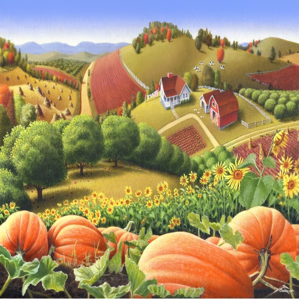 Appalachian Pumpkin Patch - Square Format Art