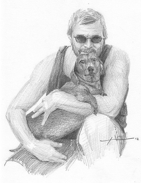 man hugging dog drawing mike theuer
