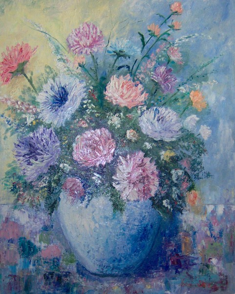 Large Pallet Knife Oil Floral